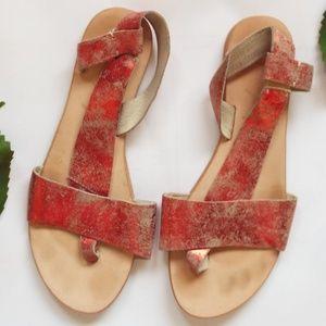 Free People Red Metallic Sandals